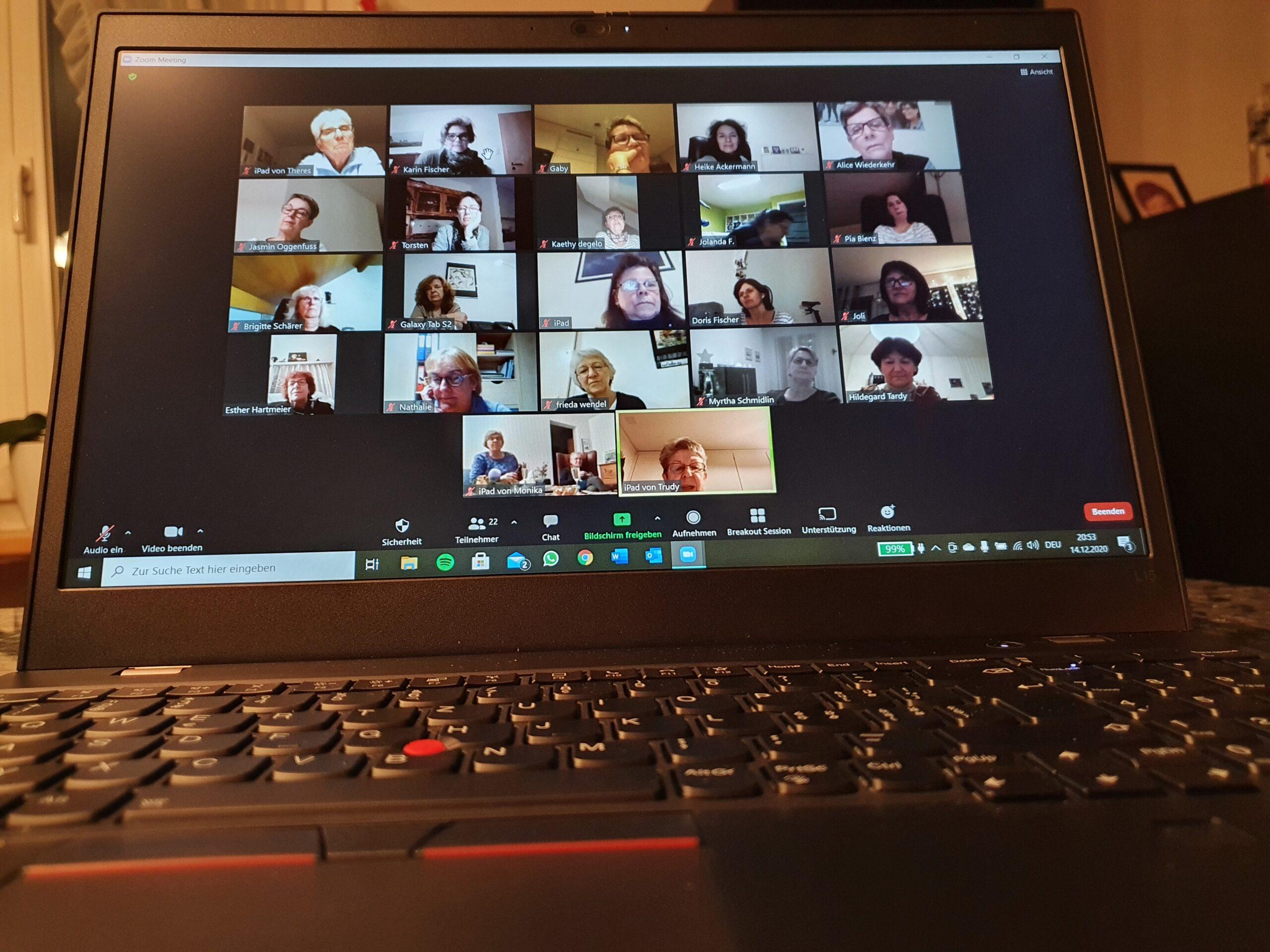 Die GV wurde genauso wie der Weihnachtsanlass (Bild) online per Zoom durchgeführt.